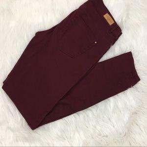 Zara Trafaluc burgundy skinny jeans sz 6